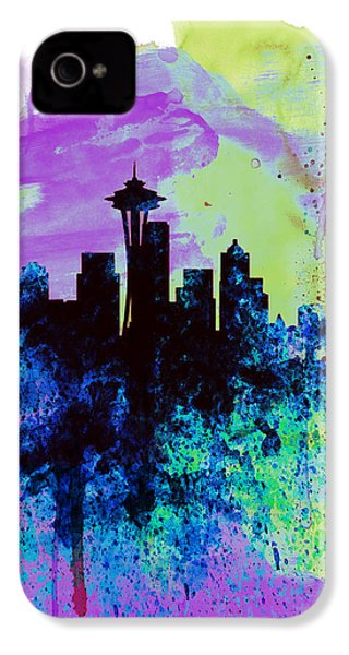 Seattle Watercolor Skyline 1 IPhone 4 / 4s Case by Naxart Studio