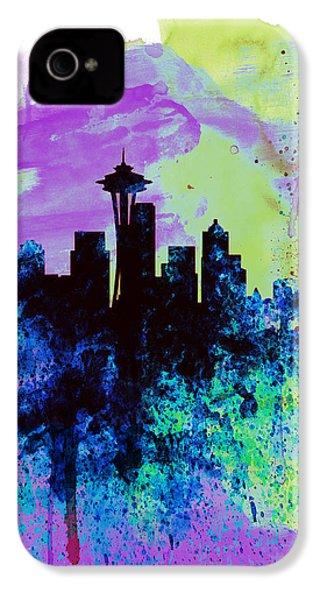 Seattle Watercolor Skyline 1 IPhone 4 / 4s Case by Naxart Studio