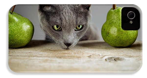 Cat And Pears IPhone 4 / 4s Case by Nailia Schwarz