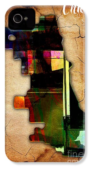 Chicago Map Watercolor IPhone 4 / 4s Case by Marvin Blaine