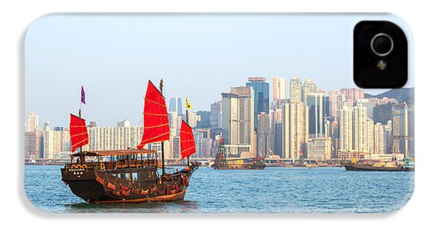 Chinese Junk Boat Sailing In Hong Kong Harbor IPhone 4 / 4s Case by Matteo Colombo