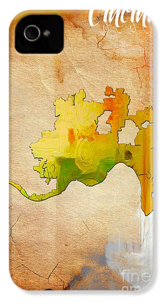 Cincinnati Map Watercolor IPhone 4 / 4s Case by Marvin Blaine