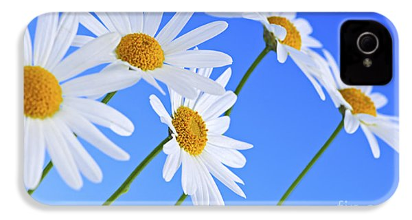 Daisy Flowers On Blue Background IPhone 4 / 4s Case by Elena Elisseeva