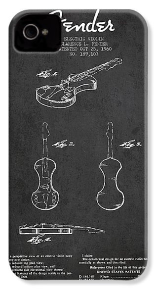 Electric Violin Patent Drawing From 1960 IPhone 4 / 4s Case by Aged Pixel