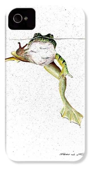 Frog On Waterline IPhone 4 / 4s Case by Steven Schultz