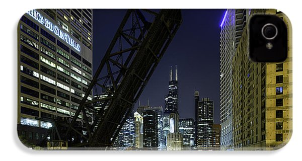 Kinzie Street Railroad Bridge At Night IPhone 4 / 4s Case by Sebastian Musial