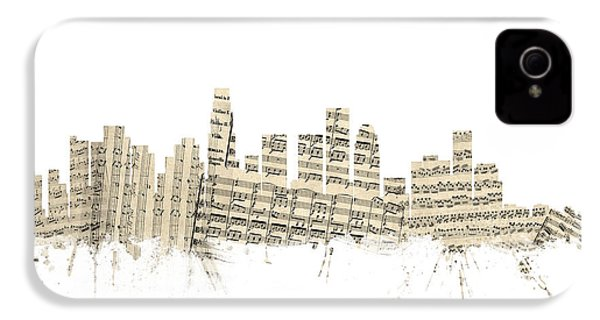 Los Angeles California Skyline Sheet Music Cityscape IPhone 4 / 4s Case by Michael Tompsett