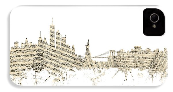 Philadelphia Pennsylvania Skyline Sheet Music Cityscape IPhone 4 / 4s Case by Michael Tompsett