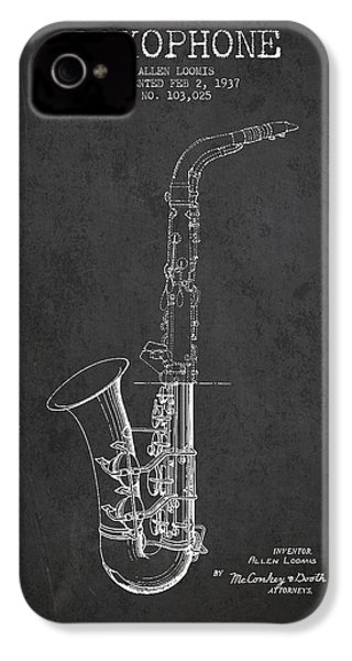 Saxophone Patent Drawing From 1937 - Dark IPhone 4 / 4s Case by Aged Pixel