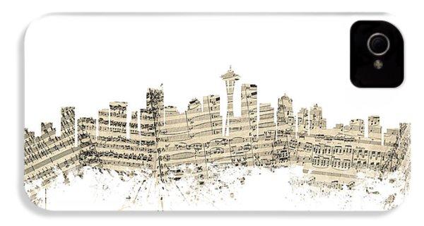 Seattle Washington Skyline Sheet Music Cityscape IPhone 4 / 4s Case by Michael Tompsett