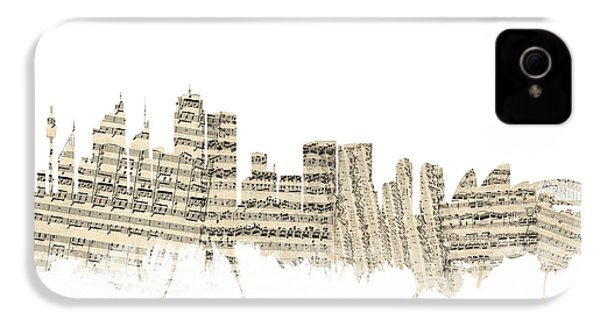 Sydney Australia Skyline Sheet Music Cityscape IPhone 4 / 4s Case by Michael Tompsett