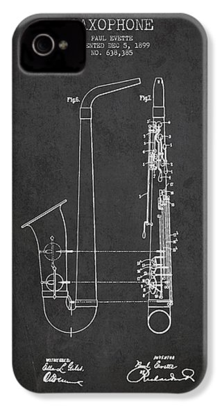 Saxophone Patent Drawing From 1899 - Dark IPhone 4 / 4s Case by Aged Pixel