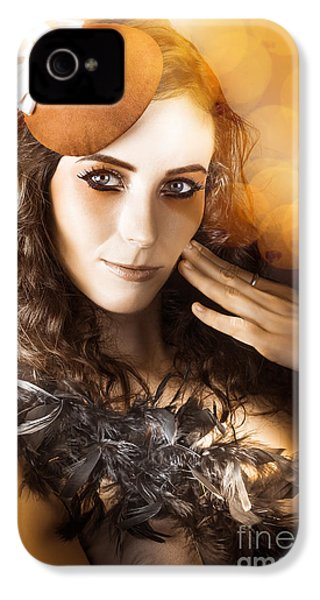 Vintage Style Actress Performing In French Beret IPhone 4 / 4s Case by Jorgo Photography - Wall Art Gallery