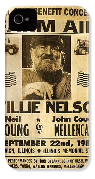 Vintage Willie Nelson 1985 Farm Aid Poster IPhone 4 / 4s Case by John Stephens