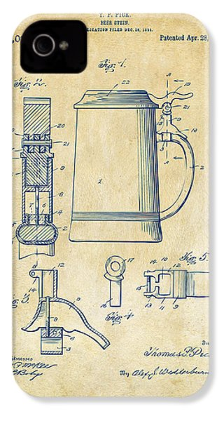 1914 Beer Stein Patent Artwork - Vintage IPhone 4 / 4s Case by Nikki Marie Smith