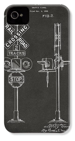1936 Rail Road Crossing Sign Patent Artwork - Gray IPhone 4 / 4s Case by Nikki Marie Smith