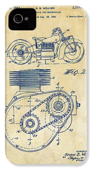 1941 Indian Motorcycle Patent Artwork - Vintage IPhone 4 / 4s Case by Nikki Marie Smith