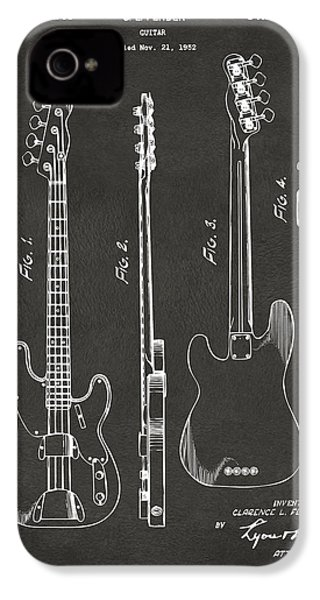 1953 Fender Bass Guitar Patent Artwork - Gray IPhone 4 / 4s Case by Nikki Marie Smith