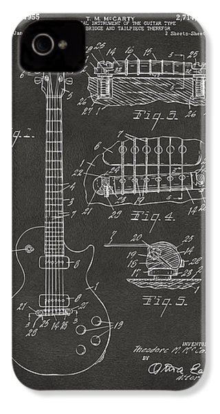 1955 Mccarty Gibson Les Paul Guitar Patent Artwork - Gray IPhone 4 / 4s Case by Nikki Marie Smith