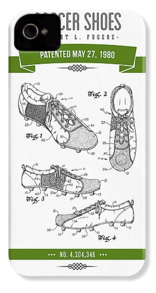 1980 Soccer Shoes Patent Drawing - Retro Green IPhone 4 / 4s Case by Aged Pixel