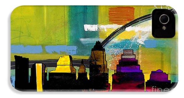 Austin Texas Skyline Watercolor IPhone 4 / 4s Case by Marvin Blaine