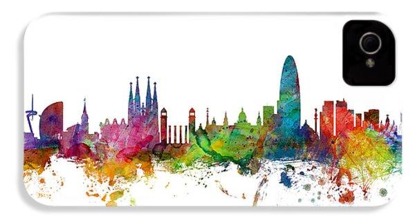Barcelona Spain Skyline IPhone 4 / 4s Case by Michael Tompsett