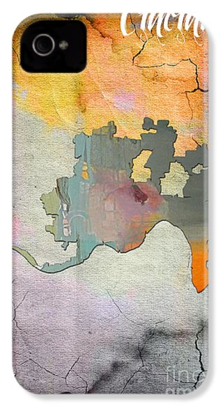 Cincinnati Map Watercolor IPhone 4 / 4s Case by Marvin Blaine