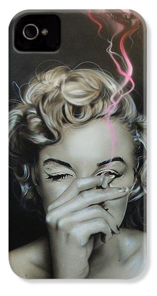 Marilyn Monroe - ' Marilyn's Crimson Haze ' IPhone 4 / 4s Case by Christian Chapman Art