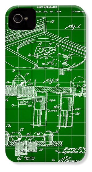 Pinball Machine Patent 1939 - Green IPhone 4 / 4s Case by Stephen Younts