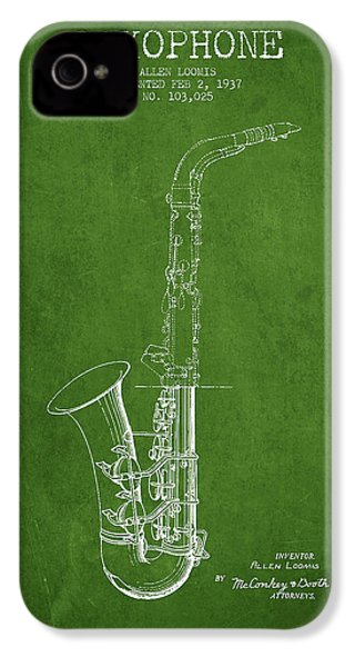 Saxophone Patent Drawing From 1937 - Green IPhone 4 / 4s Case by Aged Pixel