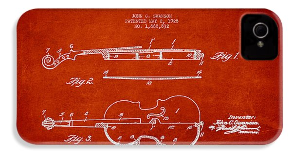 Vintage Violin Patent Drawing From 1928 IPhone 4 / 4s Case by Aged Pixel