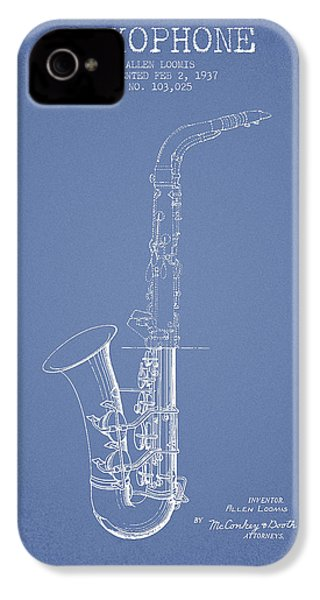 Saxophone Patent Drawing From 1937 - Light Blue IPhone 4 / 4s Case by Aged Pixel