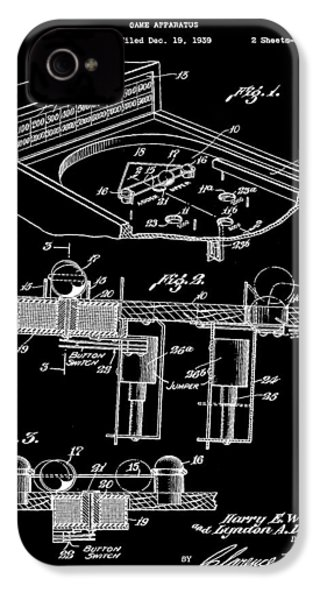 Pinball Machine Patent 1939 - Black IPhone 4 / 4s Case by Stephen Younts