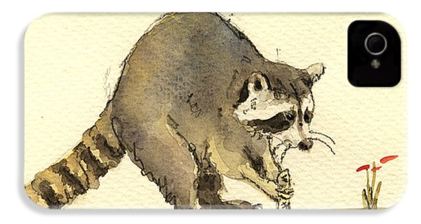 Raccoon  IPhone 4 / 4s Case by Juan  Bosco