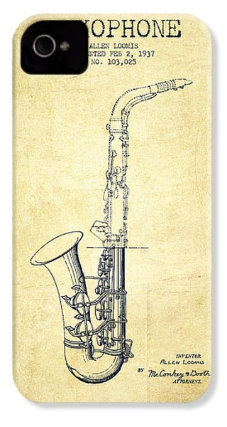 Saxophone Patent Drawing From 1937 - Vintage IPhone 4 / 4s Case by Aged Pixel