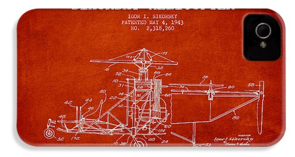 Sikorsky Helicopter Patent Drawing From 1943 IPhone 4 / 4s Case by Aged Pixel