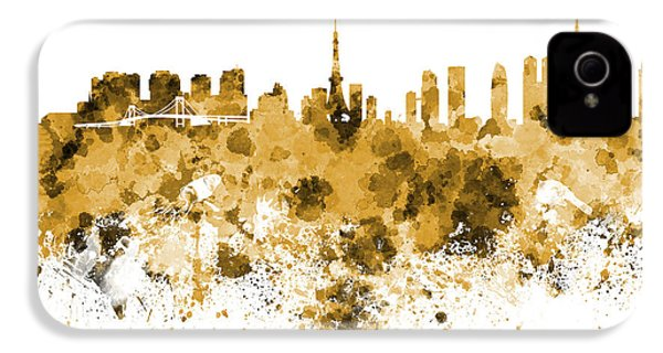 Tokyo Skyline In Watercolor On White Background IPhone 4 / 4s Case by Pablo Romero