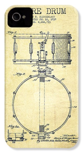 Snare Drum Patent Drawing From 1939 - Vintage IPhone 4 / 4s Case by Aged Pixel