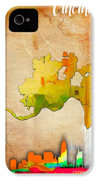 Cincinnati Map And Skyline Watercolor IPhone 4 / 4s Case by Marvin Blaine