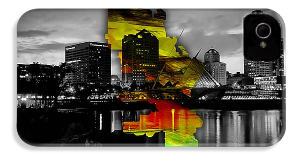 Milwaukee Map And Skyline Watercolor IPhone 4 / 4s Case by Marvin Blaine