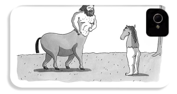 A Centaur Angrily Talks To A Creature Who IPhone 4 / 4s Case by Zachary Kanin