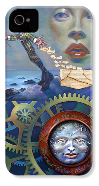 A Clockwerk Moone Is A Harsh Mistress IPhone 4 / 4s Case by Patrick Anthony Pierson