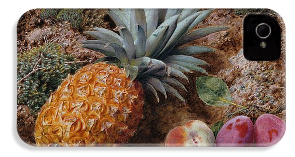 A Pineapple A Peach And Plums On A Mossy Bank IPhone 4 / 4s Case by John Sherrin