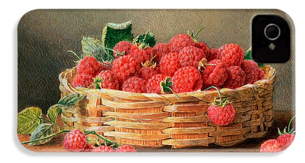 A Still Life Of Raspberries In A Wicker Basket  IPhone 4 / 4s Case by William B Hough