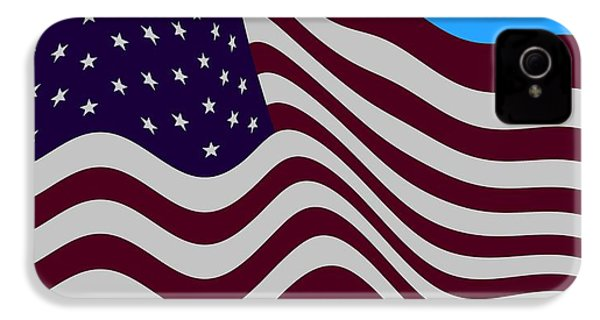 Abstract Burgundy Grey Violet 50 Star American Flag Flying Cropped IPhone 4 / 4s Case by L Brown