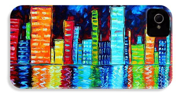 Abstract Art Landscape City Cityscape Textured Painting City Nights II By Madart IPhone 4 / 4s Case by Megan Duncanson