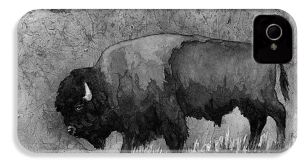 Monochrome American Buffalo 3  IPhone 4 / 4s Case by Hailey E Herrera