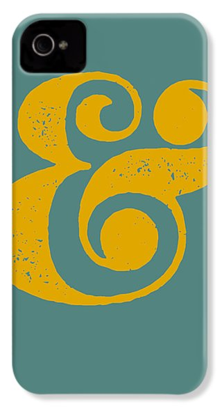 Ampersand Poster Blue And Yellow IPhone 4 / 4s Case by Naxart Studio