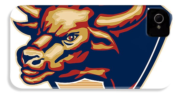 Angry Bull Head Crest Retro IPhone 4 / 4s Case by Aloysius Patrimonio