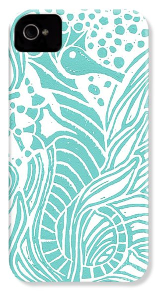 Aqua Seahorse IPhone 4 / 4s Case by Stephanie Troxell